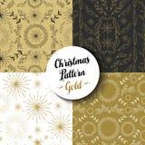 O Feliz Natal modela feriado ajustado da natureza do ouro Fotos de Stock