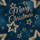 O Feliz Natal na noite stars o teste padrão sem emenda Fotografia de Stock