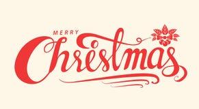O Feliz Natal text, molde do cartão do projeto de rotulação, Handwritin Imagens de Stock Royalty Free