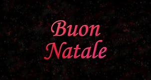 O Feliz Natal text no italiano Buon Natale formado da poeira e das voltas para espanar horizontalmente video estoque