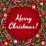 O Feliz Natal vector o cartão vermelho (e o fundo) ilustração do vetor