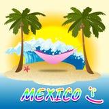 O feriado de México mostra horas de verão e praias ilustração do vetor