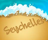 O feriado de Seychelles indica vai na licença e nas praias ilustração royalty free