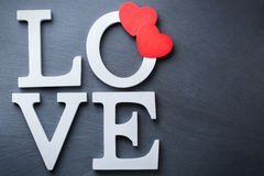 O feriado do dia de Valentim rotula a mensagem de texto para amar o fundo do cartão Fotos de Stock Royalty Free