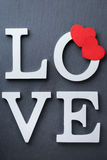 O feriado do dia de Valentim rotula a mensagem de texto para amar o fundo do cartão Fotografia de Stock