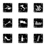O feriado em ícones de Itália ajustou-se, estilo do grunge ilustração do vetor