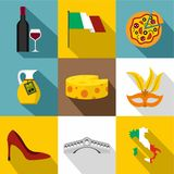 O feriado em ícones de Itália ajustou-se, estilo liso ilustração do vetor