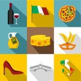 O feriado em ícones de Itália ajustou-se, estilo liso ilustração royalty free