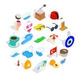 O feriado em ícones de Turquia ajustou-se, estilo isométrico ilustração do vetor