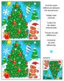 O feriado encontra o enigma da imagem das diferenças com árvore de Natal Imagem de Stock Royalty Free