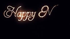 O feriado ilumina a escrita do texto do ano novo feliz ilustração royalty free