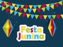 O2018-06-13-05. Festa Junina Background. Brazil June Festival Design for Greeting Card. Vector Illustration EPS10 Royalty Free Stock Images