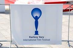 O festival de cinema internacional da bandeira em Karlovy varia Fotos de Stock Royalty Free
