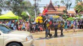 O festival de Songkran é comemorado com os elefantes em Ayutthaya Fotos de Stock