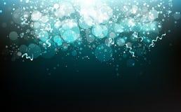 O festival do partido da celebração, as estrelas, as fitas e o papel que cai, poeira dos confetes, incandescendo obscura dispersa ilustração do vetor