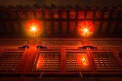 O festival tradicional das lanternas chinesas vermelhas ilumina o asiático R da cultura Foto de Stock Royalty Free