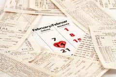 14o fevereiro com coração Fotografia de Stock Royalty Free