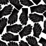 O fico do figo entrega o teste padrão sem emenda, vetor preto e branco Imagem de Stock Royalty Free