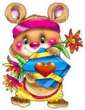 O filhote de urso com um presente e um c Imagens de Stock Royalty Free