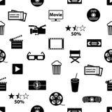 O filme e o cinema vector o teste padrão sem emenda eps10 dos ícones Foto de Stock