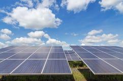 O fim acima da disposição das fileiras de células solares policristalinas do silicone ou o photovoltaics na volta da planta de en fotos de stock royalty free