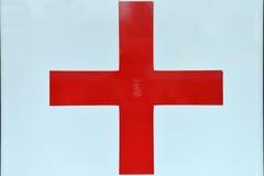 O fim acima de canta com cruz vermelha, cuidados médicos, medicina Símbolos c Imagem de Stock