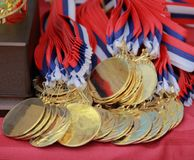O fim acima de medalhas douradas do cão foto de stock royalty free