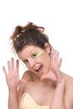O fim acima do retrato da mulher com pena compo Foto de Stock