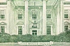 O fim branco do macro de Bill do dólar americano da casa acima Imagens de Stock Royalty Free