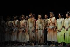 O fim da chamada- da cortina do ator de eventos do drama-Shawan da dança do passado Imagem de Stock