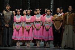 O fim da chamada- da cortina do ator de eventos do drama-Shawan da dança do passado Imagens de Stock