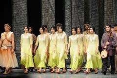 O fim da chamada- da cortina do ator de eventos do drama-Shawan da dança do passado Fotografia de Stock Royalty Free
