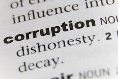 O fim da corrupção da palavra acima foto de stock