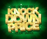 O fim da venda do ano, bate para baixo a ilustração do vetor do preço com texto quebrado ouro Foto de Stock Royalty Free