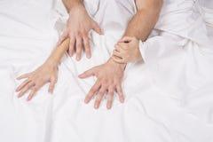 O fim de pares apaixonado mantém as mãos durante a fatura do amor intenso no quarto, amantes aprecia o sexo quente na folha branc imagem de stock