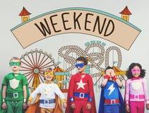 O fim de semana aprecia cumprimentar domingo sábado relaxa o conceito Fotografia de Stock Royalty Free