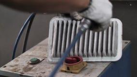 O fim disparou acima na força aérea elétrica de utilização mecânica dos ventiladores que funde ao filtro do motor de automóveis p video estoque