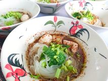 O fim engrossa acima a carne de porco cortada macarronetes da sopa com bola da carne de porco Imagens de Stock Royalty Free