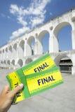 O final de Brasil Tickets arcos Centro Rio de janeiro de Lapa imagens de stock royalty free