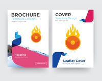 O fire brochure flyer design template. With abstract photo background, minimalist trend business corporate roll up or annual report Royalty Free Stock Images