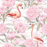 O flamingo cor-de-rosa, peônia floresce, texto escrito da mão Teste padrão sem emenda watercolor imagem de stock