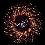 O flash de fogos-de-artifício abstratos em um fundo escuro Luzes festivas da explosão brilhante congratulation Saudação festiva d ilustração royalty free