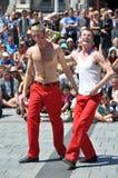O flash, festival dos Buskers do mundo, Christchurch Imagens de Stock