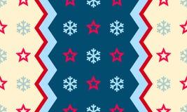 O floco de neve e a estrela do Natal vector o fundo sem emenda do teste padrão Fotografia de Stock Royalty Free