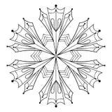 O floco de papel da neve do entalhe do vetor no estilo do zentangle, rabisca o preto ilustração royalty free