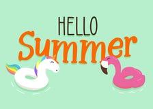 O flutuador alegre e feliz do unicórnio e do flamingo soa com olá! fundo da mensagem do verão Projeto da ilustração do vetor ilustração stock