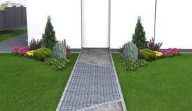 O fluxo forma na paisagem do quintal, ilustração 3d Imagem de Stock