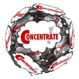 O foco das nuvens do pensamento da palavra do concentrado imagina pensar Imagem de Stock Royalty Free