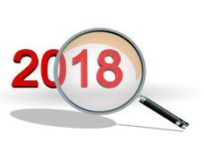 o foco de 2018 revisões em números do texto dos detalhes len - a rendição 3d ilustração stock