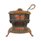 O fogão de madeira velho do cozinheiro do ferro de molde isolou-se. imagens de stock